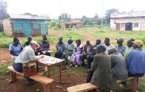 researchers interviews farmers in Kenya