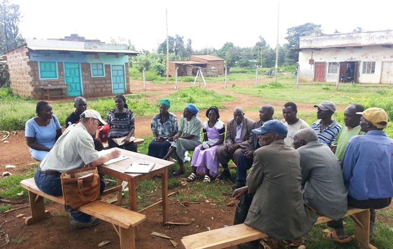 researchers interviews farmers in Kenya