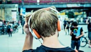listening to headphones (sound, brains, listening concept)