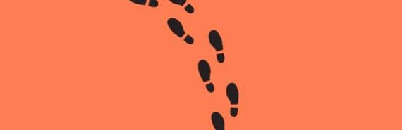 black footprints on orange