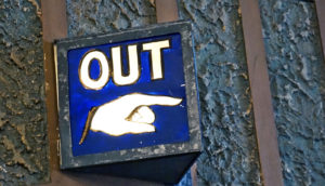 """out"" sign (hostility towards immigrants concept)"