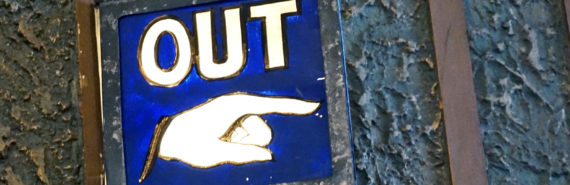 """""""out"""" sign (hostility towards immigrants concept)"""