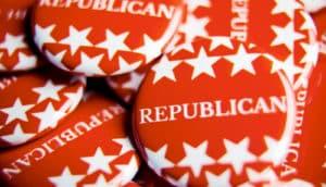 """""""Republicans"""" pins (Republicans, politics, climate change concept)"""