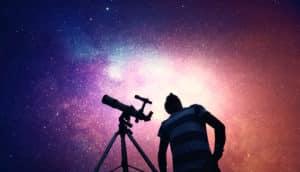 star gazer looking up (black holes + cosmic photobomb)