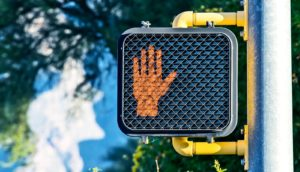 stop at crosswalk (stop moving concept)