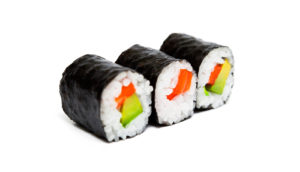 three sushi rolls on white