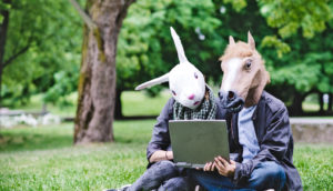 bunny and horse heads read laptop