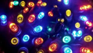colorful string lights (quantum dots concept)