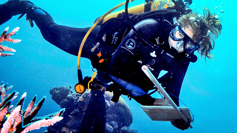 Researcher Joleah Lamb dives in Australia