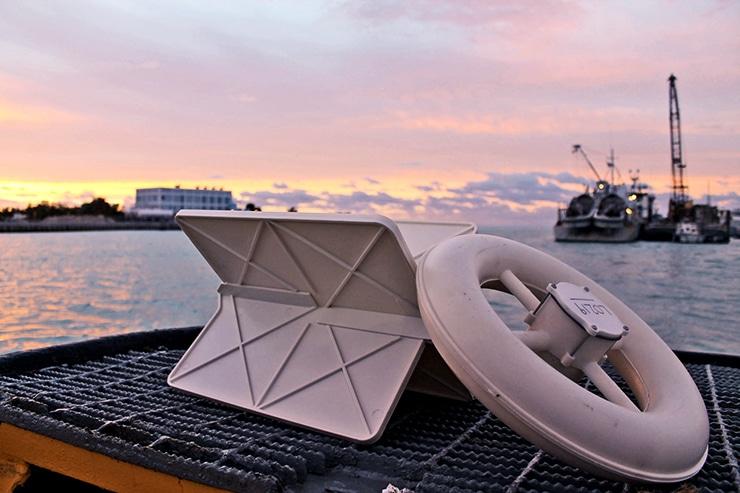 drifter on ship at sunset