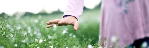 girl's hand touching flowers