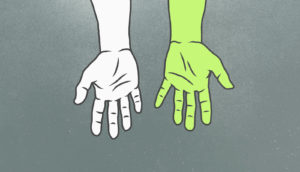 two hands, one green