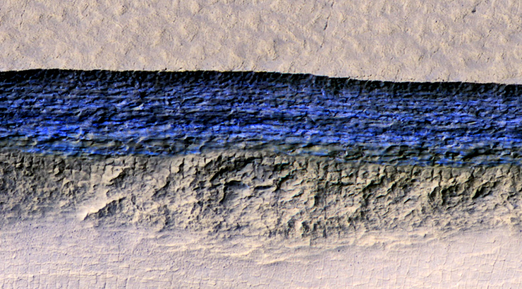 ice on Mars slope