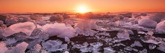 sunrise over ice chunks