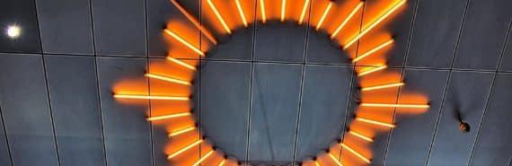 starburst lights on ceiling (star collision concept)