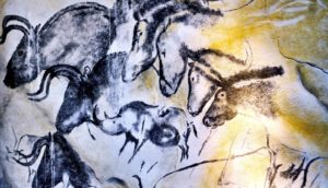 Chauvet's cave horses (Neanderthals, history, and art concept)