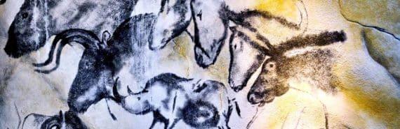 Chauvet's cave horses (Neanderthals, history, and art concept)