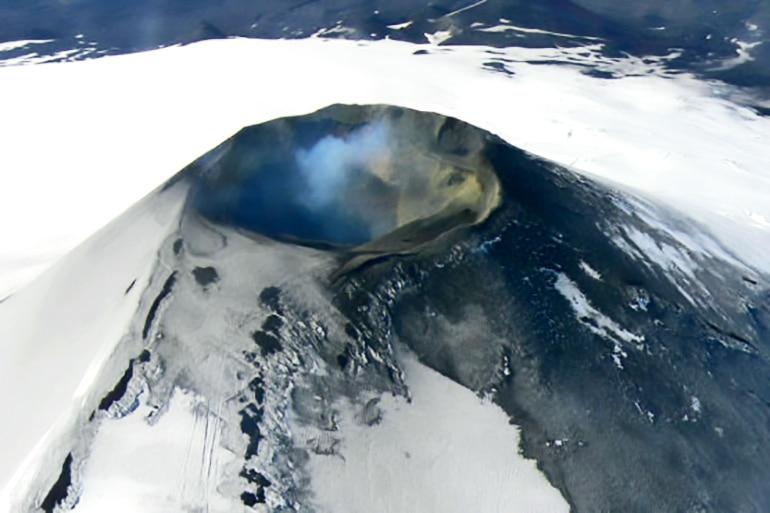 Aerial view of Villarica volcano
