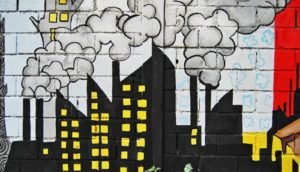 air pollution mural of factory