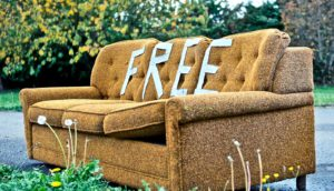 free couch sitting outside