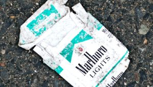 pack of cigarettes on the ground