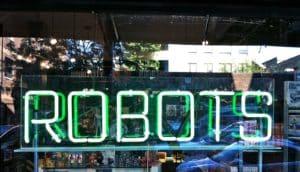 neon robots sign