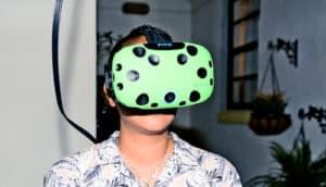 wearing virtual reality headset