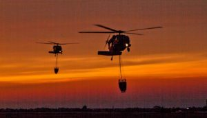 helicopters respond to wildfire