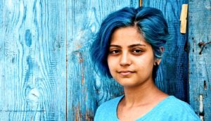 blue-haired young woman