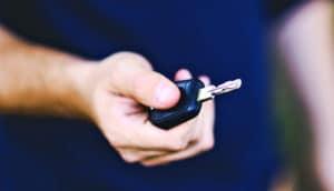 holding car keys up close