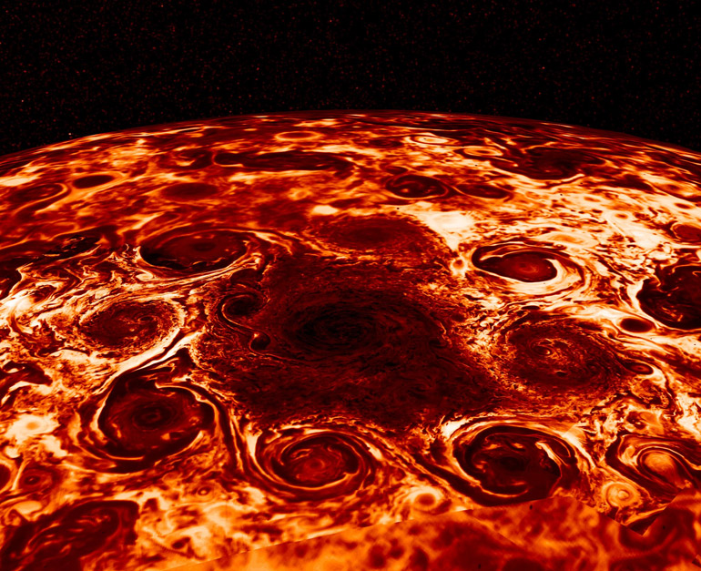 Eight massive storms form an octagon around a storm at the center of Jupiter's north pole.