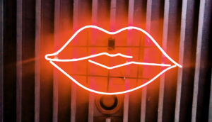 neon sign of lips