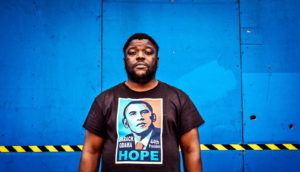 man wearing obama shirt (black voters & Trump concept)