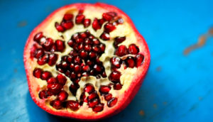 pomegranate on blue - silk road nomads