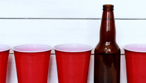 red beer cups (parents and drinking concept)
