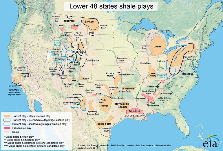 shale gas map of the US