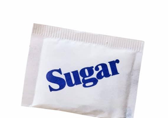 white sugar packet