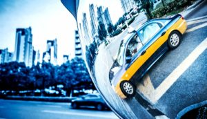 taxi in mirror