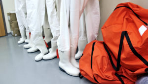 white boots and hazmat suits (Ebola concept)