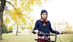 young girl on bike