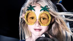 young girl with pineapple glasses (hormones concept)