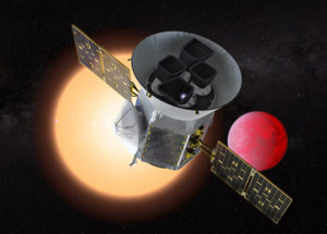 Illustration of TESS in front of a lava planet orbiting its host star