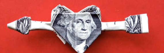 dollar bill heart on red