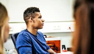 student in class - black men in engineering
