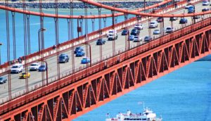 Golden Gate bridge with cars (fuel economy standards concept)