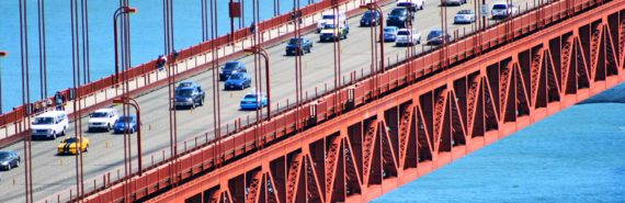 Golden Gate bridge with cars (fuel economy standards concept)
