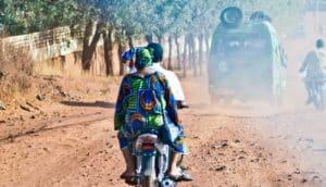 two people on motorbike in Mali