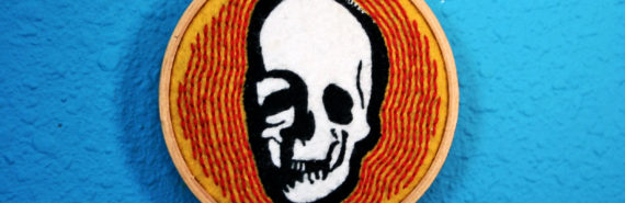 skull embroidery (microbiome concept)