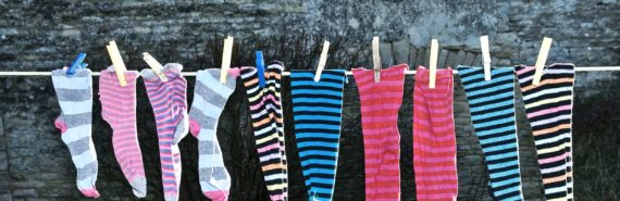 (physical therapy concept) socks drying on the line