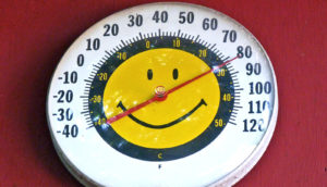 thermometer with smiley face (search for alien life concept)